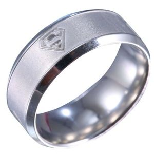 Stainless Steel Superman Ring Size 8